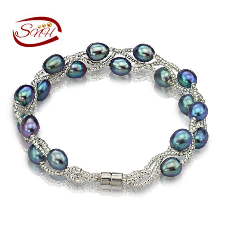 aba913993f46 100% Perlas de Agua Dulce Naturales Pulseras de Plata 925 Cadena de muchos  colores Reales de perlas regalo para la muchacha amigo