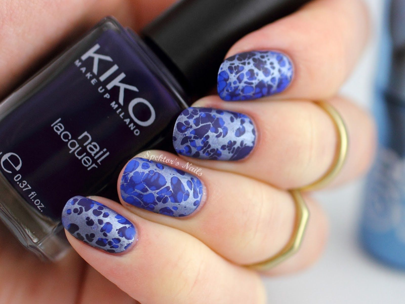 Water Spotted Nail Art feat. Model\'s Own - Chrome Indigo ...