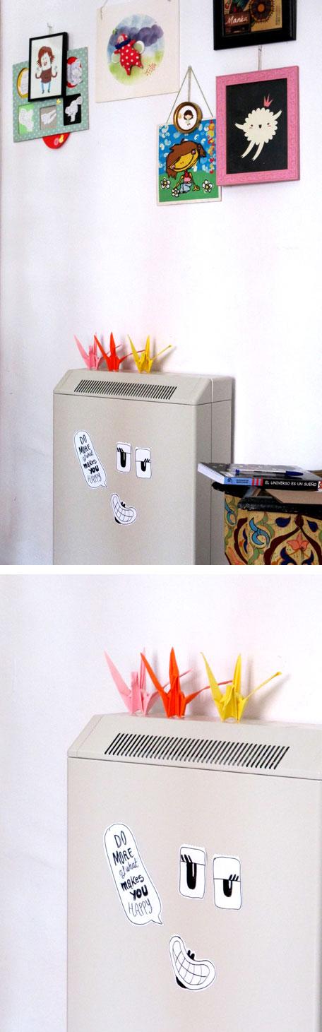 Imanes cara sobre acumulador, o radiador. pintados a mano con rotulador indeleble. estelacreativa.es / espiguere.es