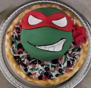 Teenange Mutant Ninja Turtle Raphael Pizza cake This TMNT cake was