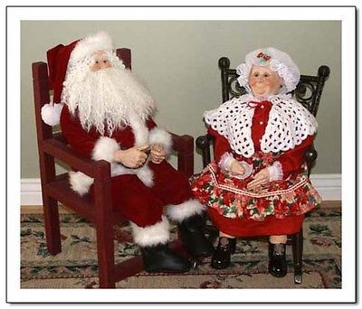 Adorable Christmas couple. Both hand painted by an award winning artisan, my grandma, with amazing attention to detail.  The skin and hands in particular are very life-like. The head, shoulder plate, arms and legs are all porcelain. The bodies are a hand crafted/sewn cloth body.  Both Clause's look great in a country outfit for an all year display. Chair and rocking chair not included, if interested both are listed by the same seller. Go check them out on Ebay!
