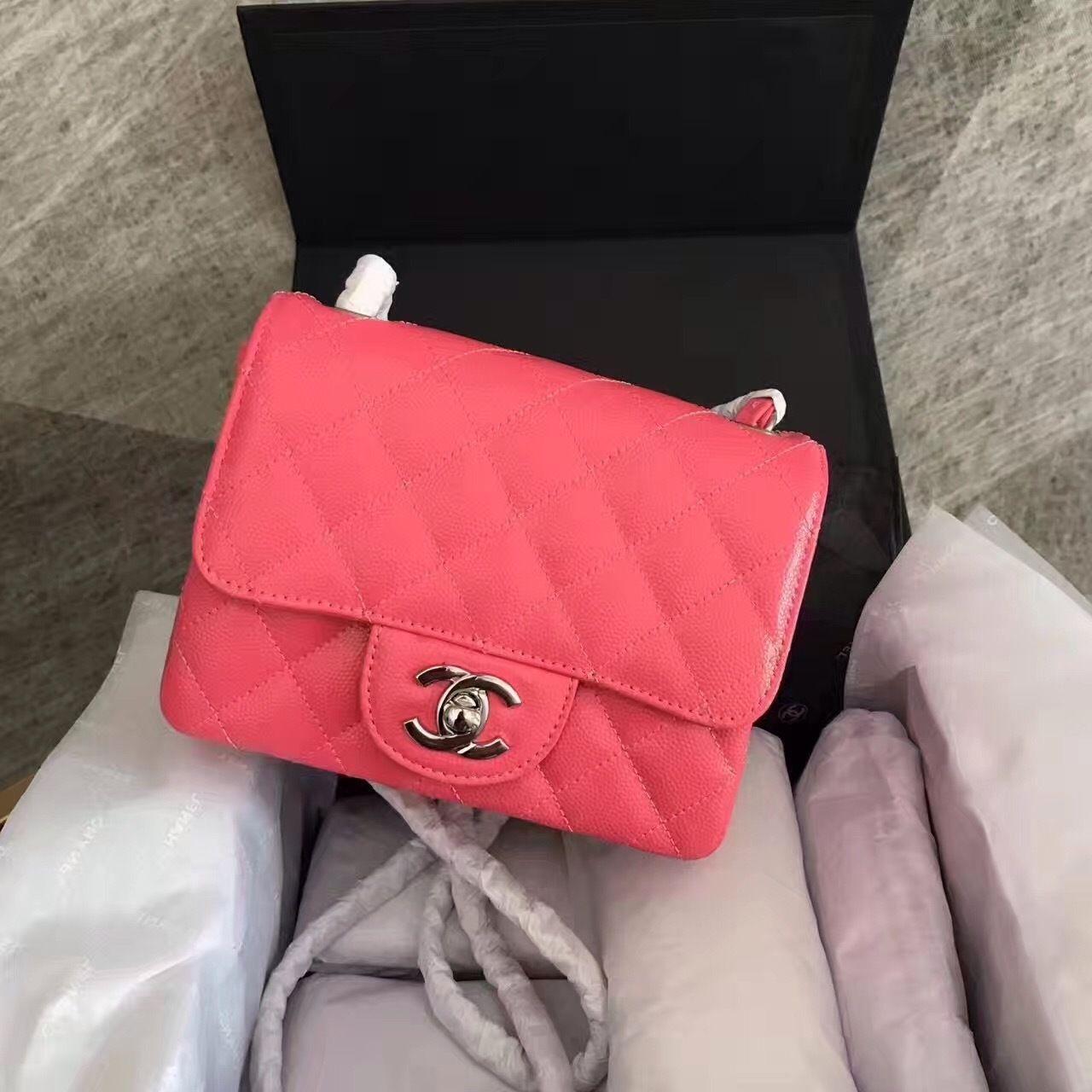 4aa45473d5affe CHANEL Fuchsia Calfskin Mini Square Classic Flap Chain Shoulder Bag with  Silver Hardware - Bella Vita Moda
