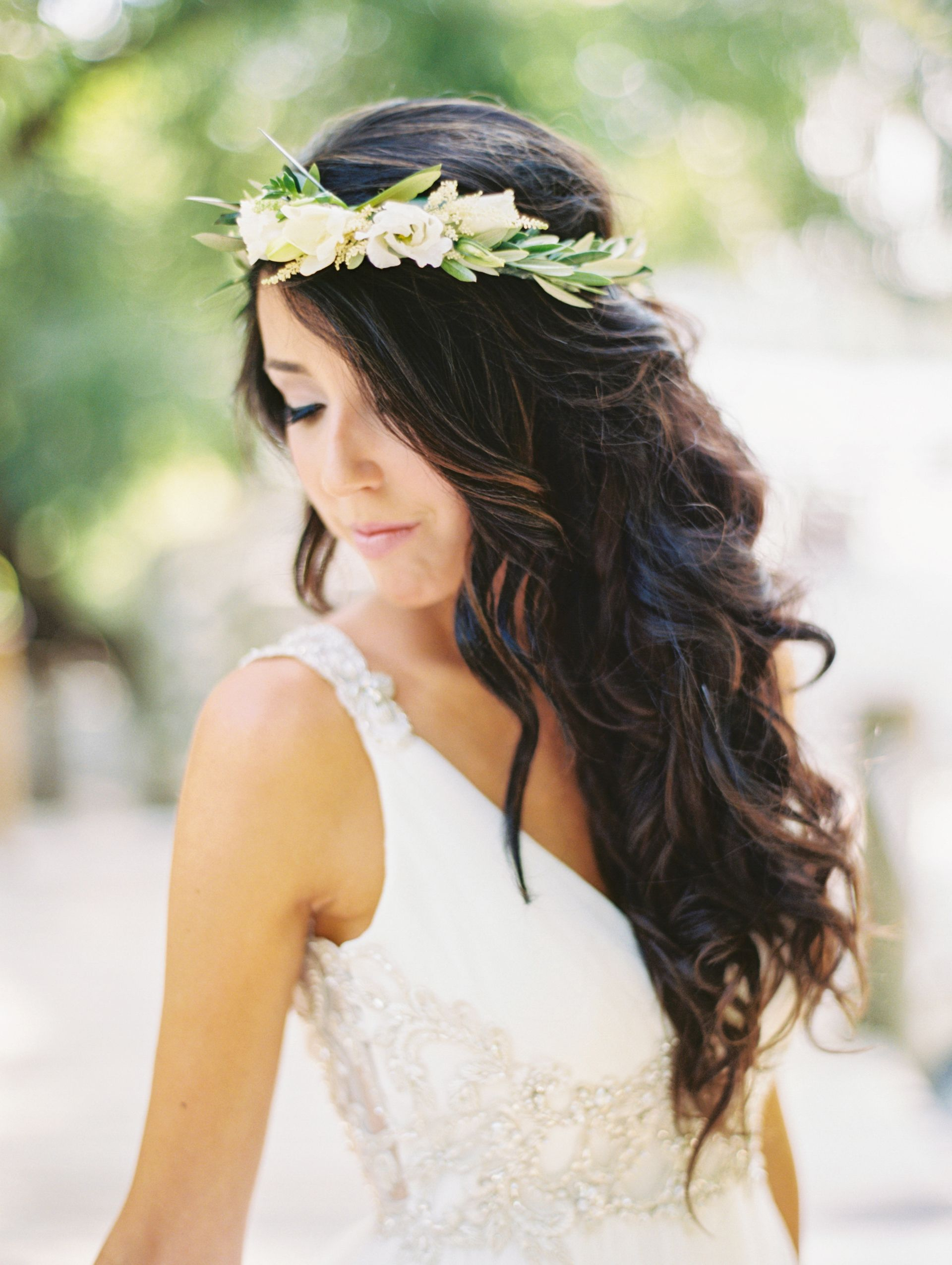 Luscious Brunette Bridal Curls White Flower Crown Natural Wedding
