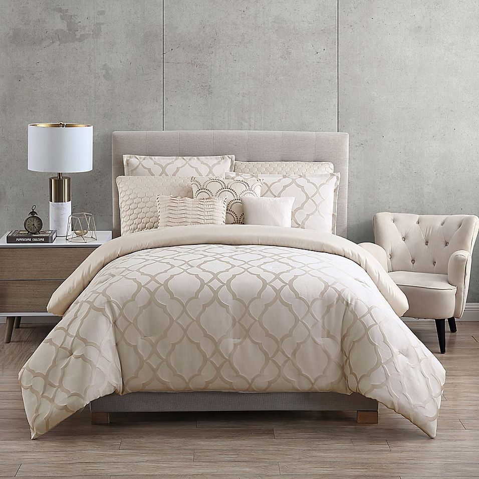 Tiago Jacquard 9 Piece Full Queen Comforter Set In Champagne