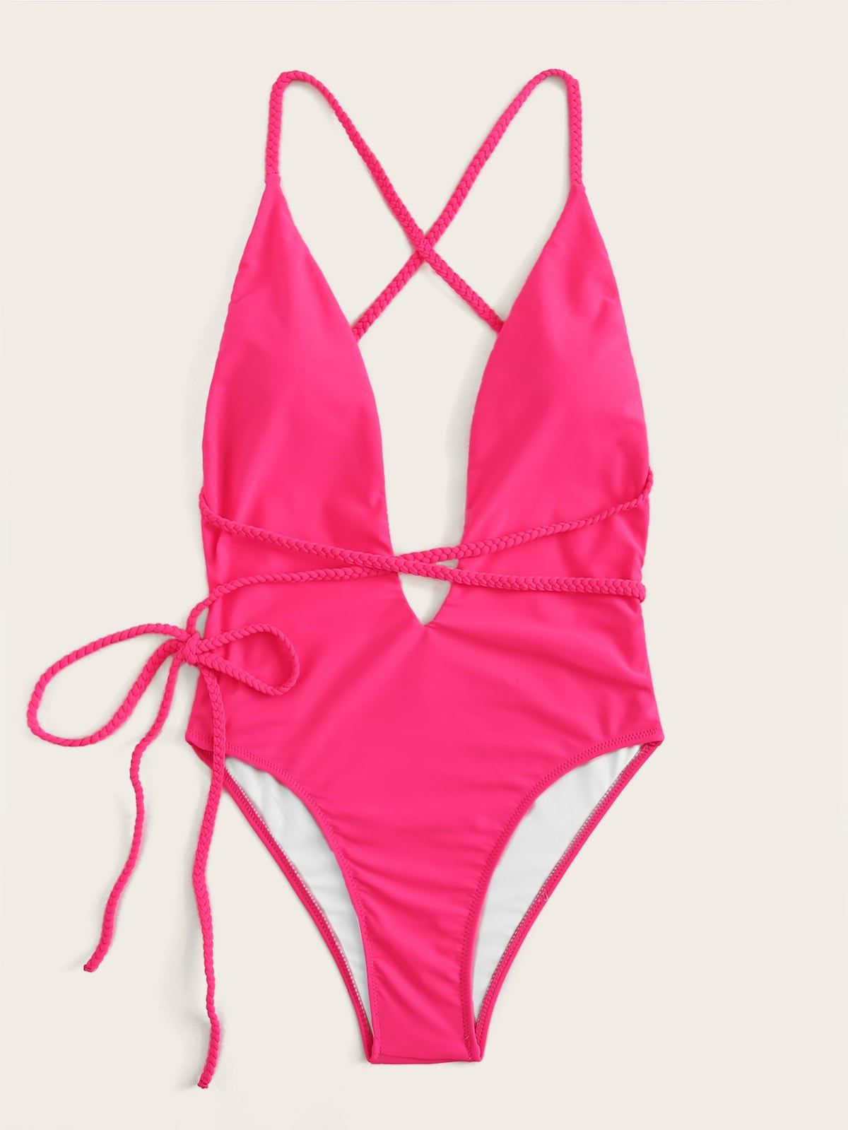 6dc1a3aeea146 U-plunge Criss Cross Backless One Piece Swimsuit in 2019    Saintsandswimmers   Backless one piece swimsuit, One Piece Swimsuit, One  piece