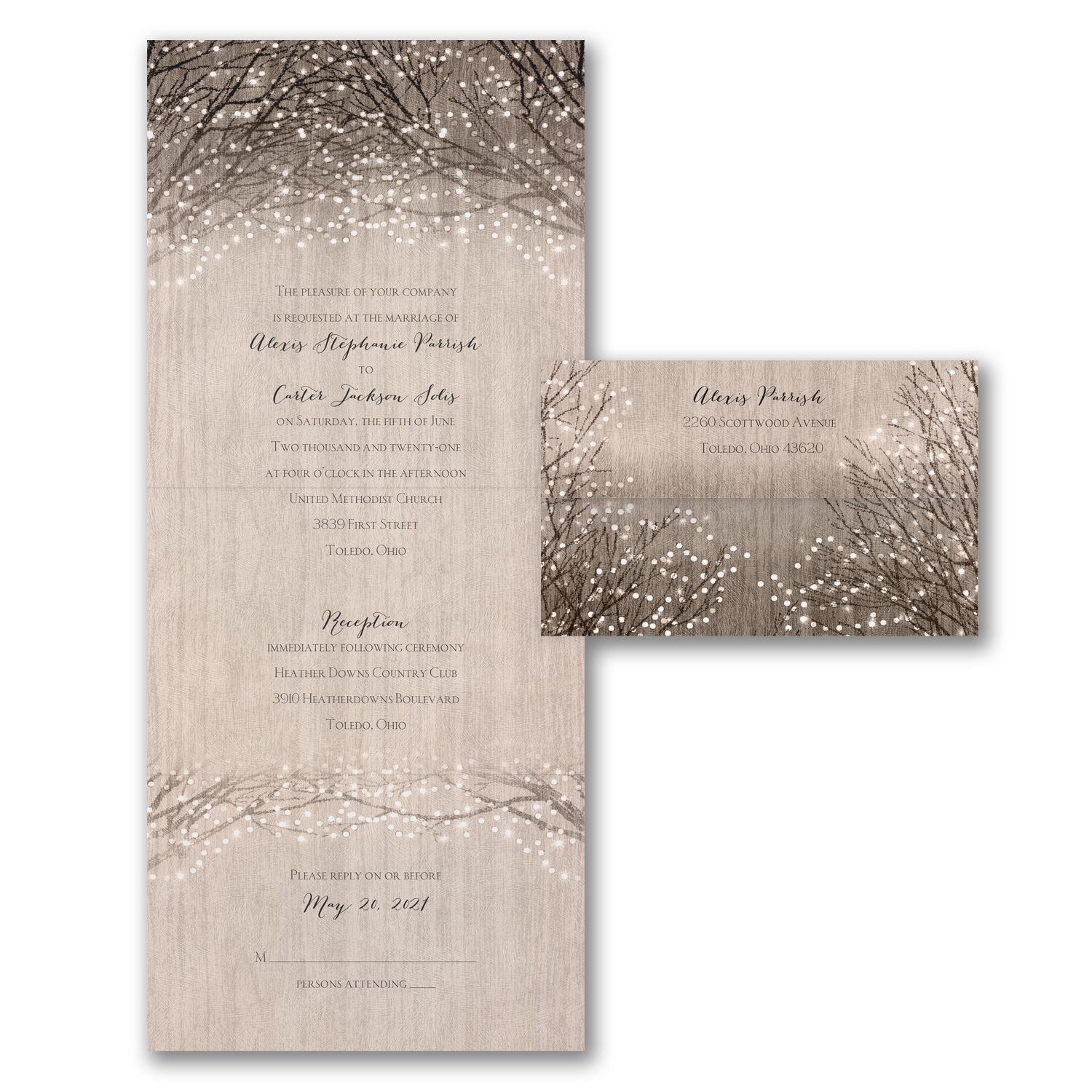Wooden Shimmer - Seal \'n Send. Available at Persnickety Invitation ...