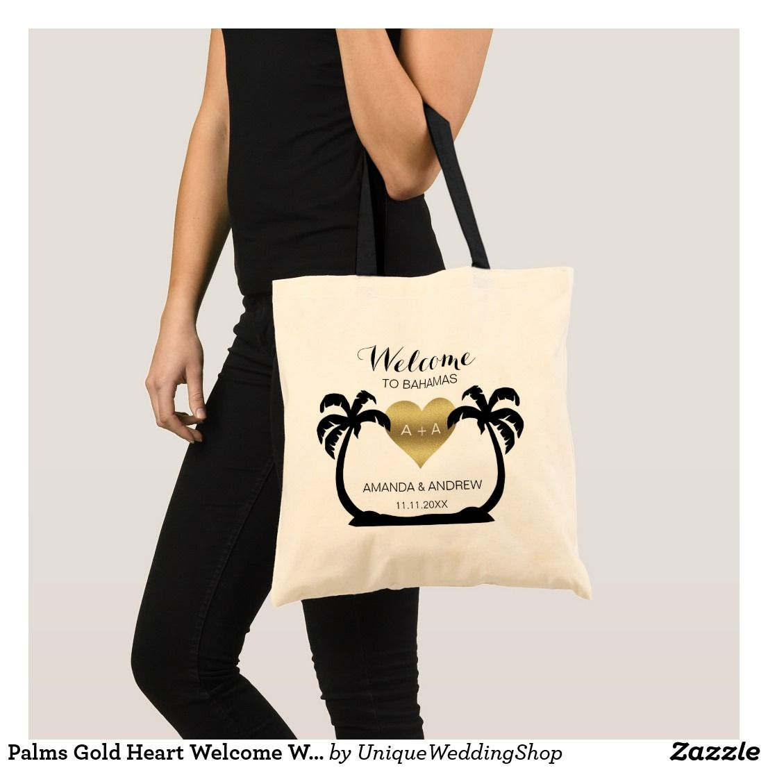 Palms Gold Heart Welcome Wedding Gift Tote Bag Weddingtote Bags