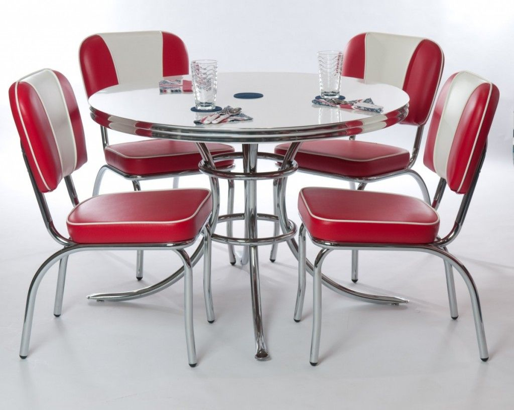 Modern Stainless Steel Round Retro Kitchen Dining Table Design With Red Leather Chairs Seet