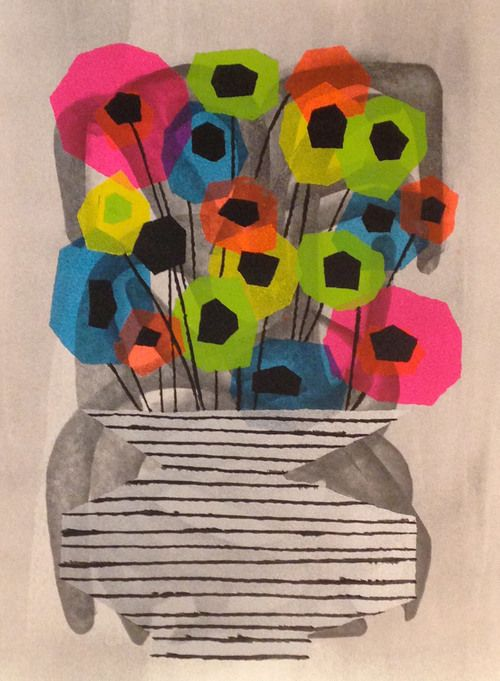 Untitled Flowers 2015 25 X 11 Graphite Clear Gesso Cel