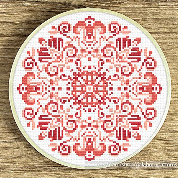 Tittle: Mandala coral This PDF counted cross stitch ...