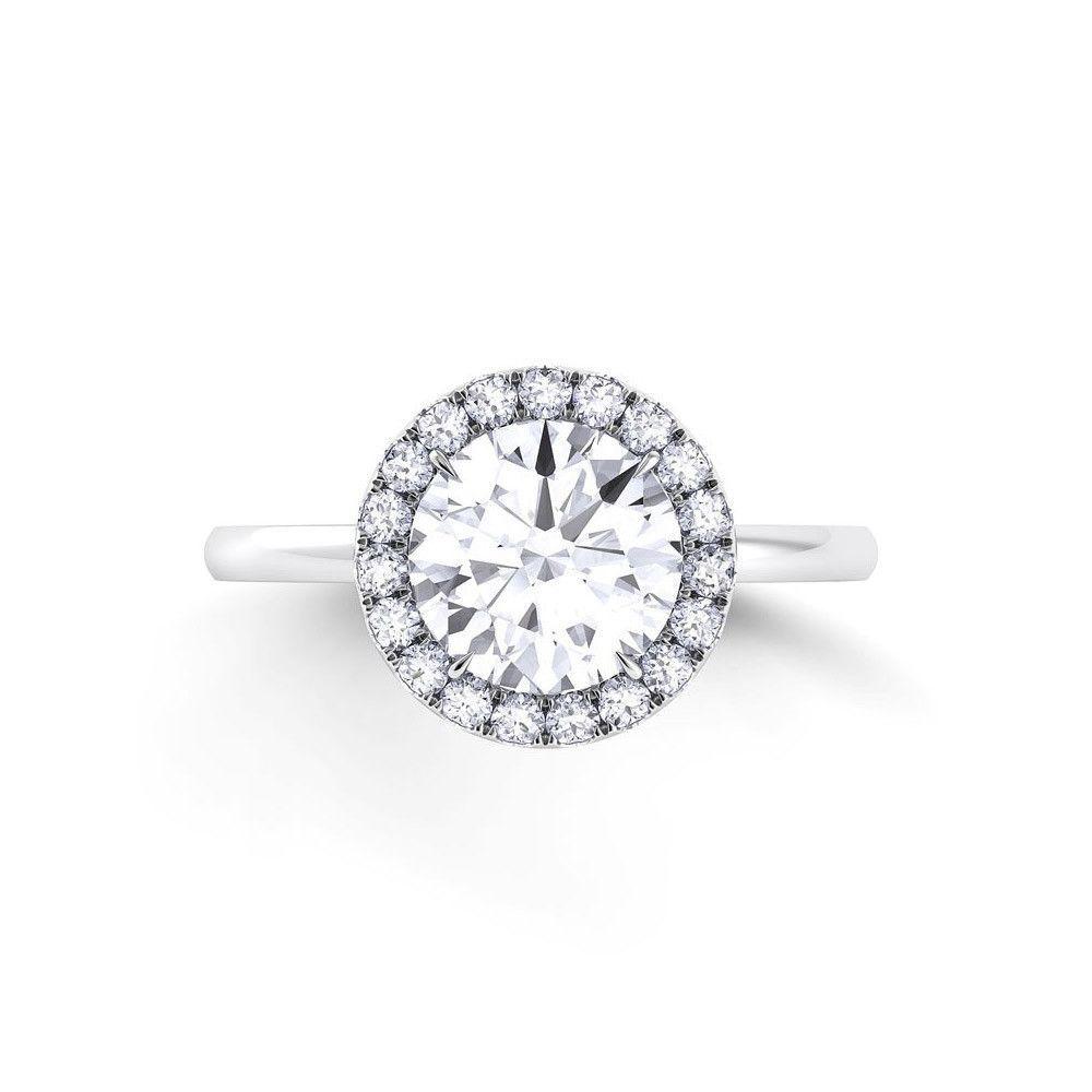 Danhov per lei plain single shank engagement ring with diamond halo