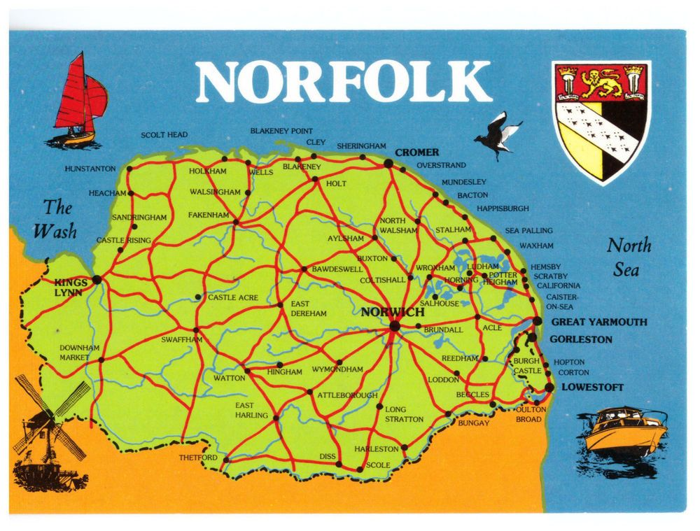 Norfolk California Map.Norfolk England Map Rare Picture Postcard Postcards Picture
