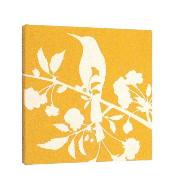 $27 yellow and white bird art print | Christmas ideas | Pinterest ...