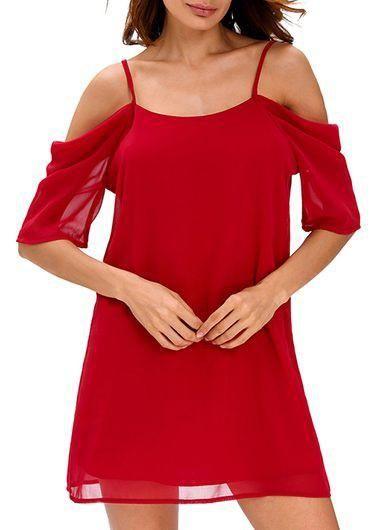 ModLily - unsigned Chiffon Off the Shoulder Red Mini Dress - AdoreWe.com