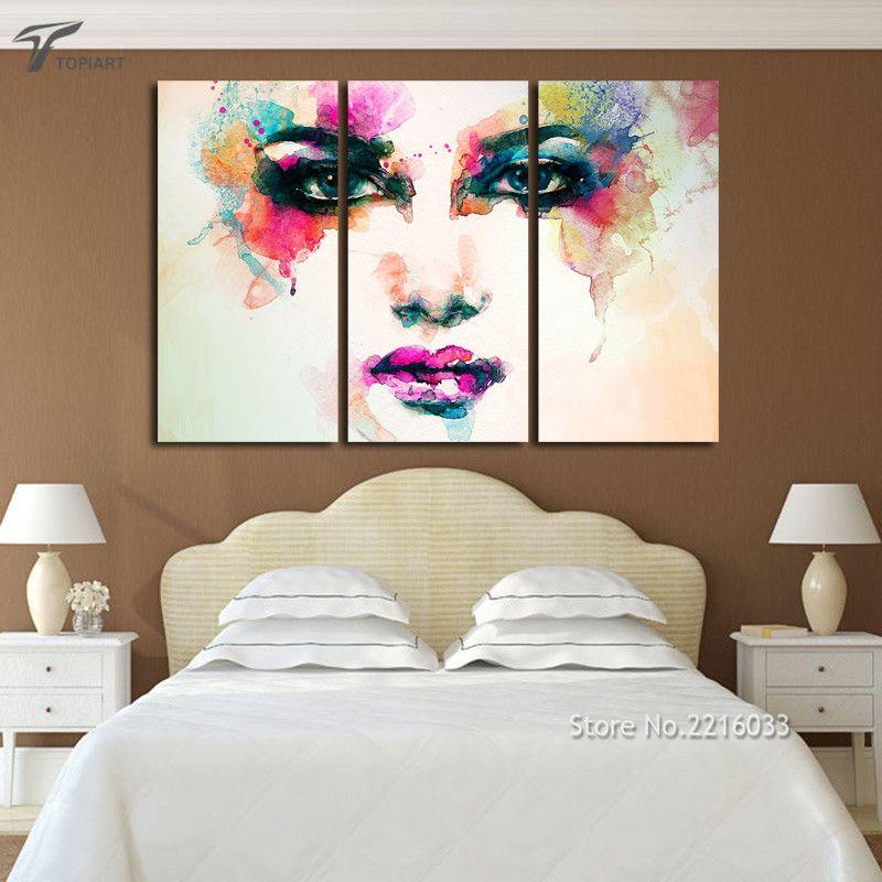 Room Piece Canvas Picture Watercolor Paintings Color Woman Face Art