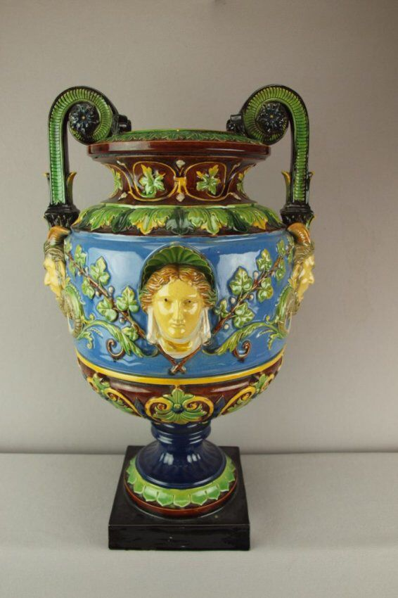 Wilhelm Schiller & Son (WS&S) large urn with lady's heads and mask handles.