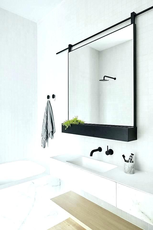 Bathroom Metal Wall Wire Rack Storage Shelf Black: Metal Framed Mirrors Bathroom Black Metal Wall Mirror Thin