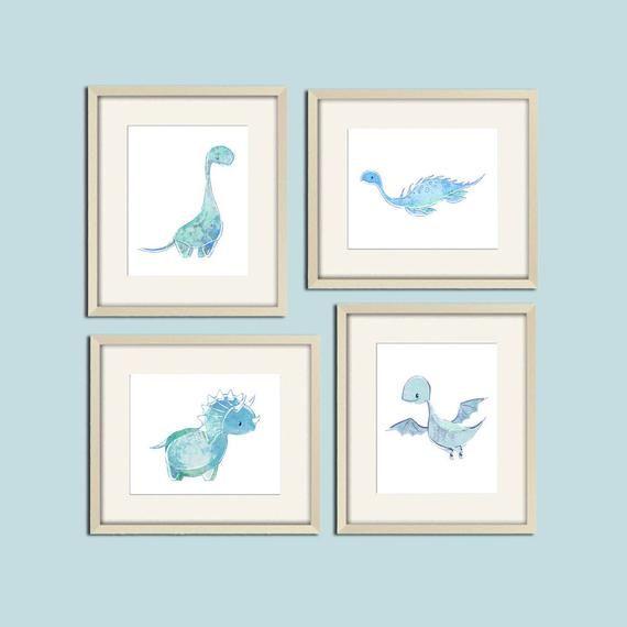 baby dinosaur prints, dinosaur wall art, blue nursery art print set, baby boy nursery decor, toddler #babyboyblankets