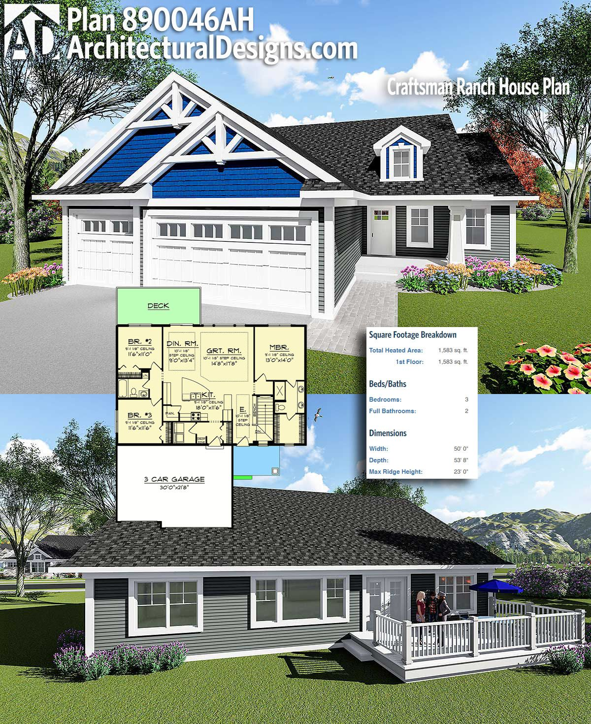 Plan 890046AH: Craftsman Ranch House Plan