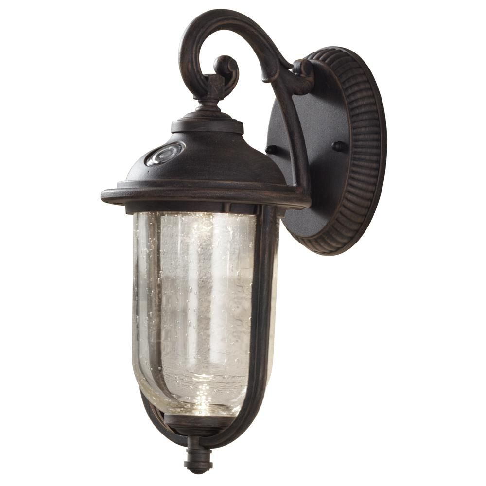 Outdoor porch lamp - Hampton Bay Perdido Rustic Bronze Outdoor Integrated Led 6 In Wall Mount Lantern With Photocell