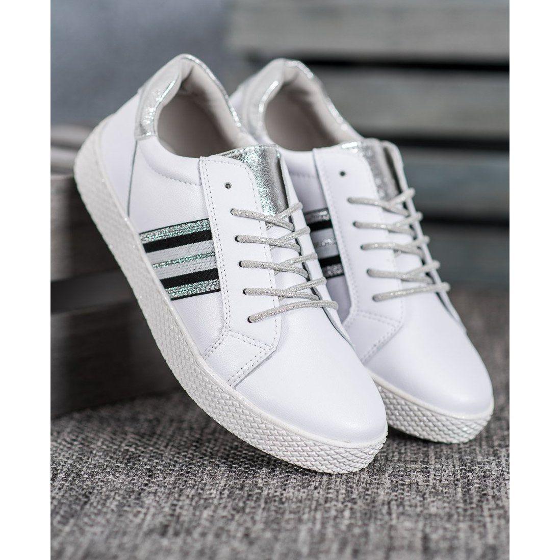 Filippo Skorzane Buty Na Platformie Biale Shoes Sneakers Leather Heels
