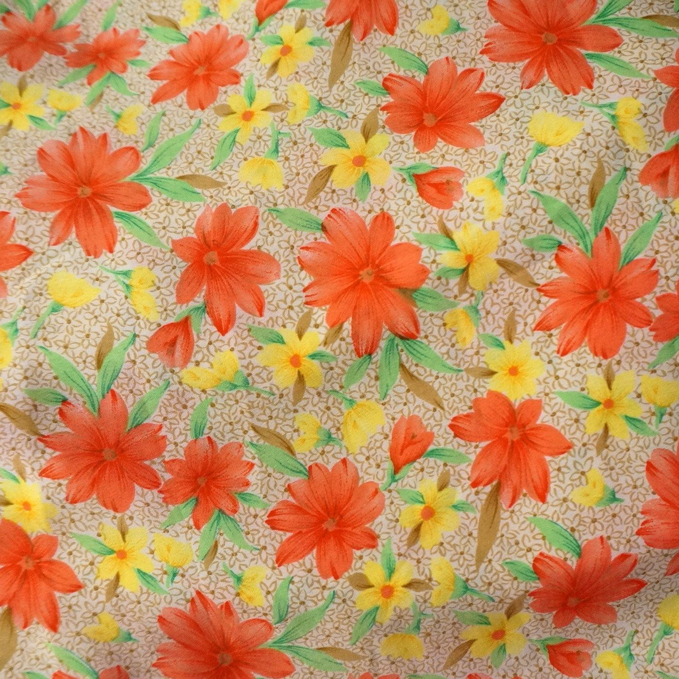 Absolutely outstanding vintage floral bordered crepe georgette fabric in beautiful bright colors. It measures 44 inches wide x 3 yards. The fabric has no flaws or damage and is beautiful to behold. Pics dont do this lovely fabric justice! Convo us for larger quantities than shown.
