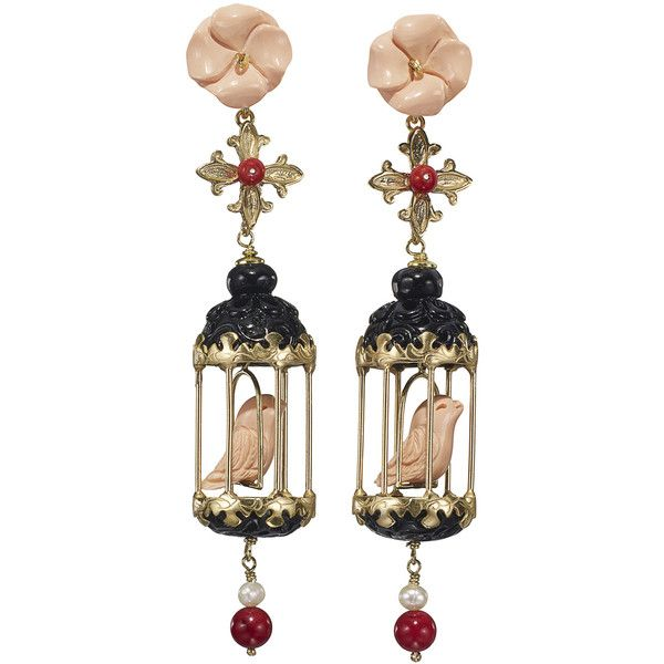 Of Rare Origin Aviary Classic Earrings - Black & Pink ($1,450) ❤ liked on Polyvore featuring jewelry, earrings, kirna zabete, pearl earrings jewellery, pearl flower earrings, flower jewellery, flower jewelry and earring jewelry