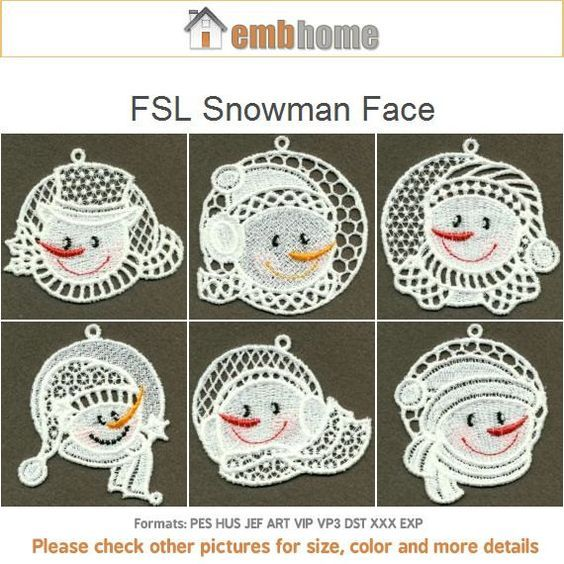Fsl Snowman Face Free Standing Lace Machine Embroidery Designs