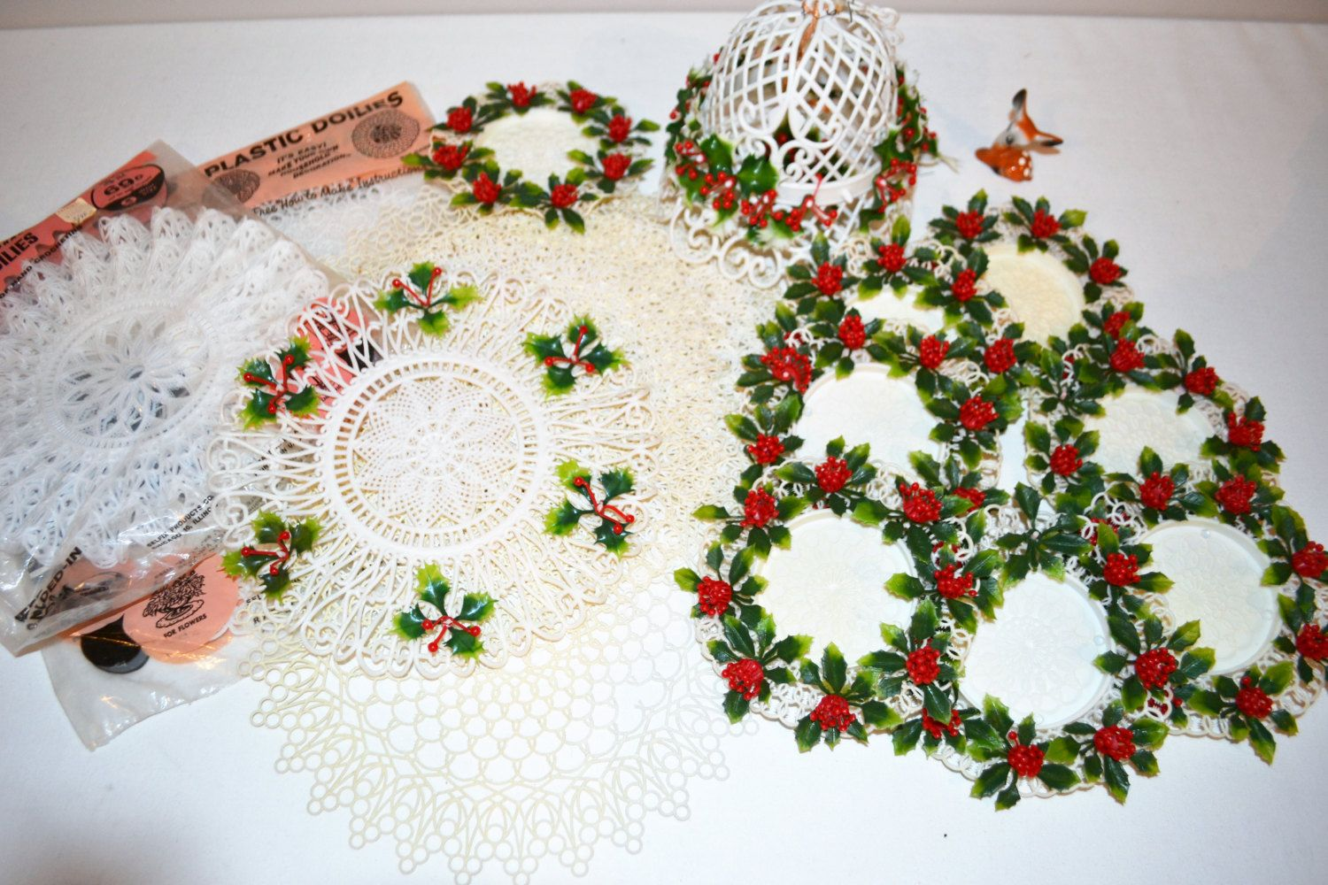 Vintage Doily Lot Christmas / All Year Plastics 28 pieces by ChristmasVintage on Etsy