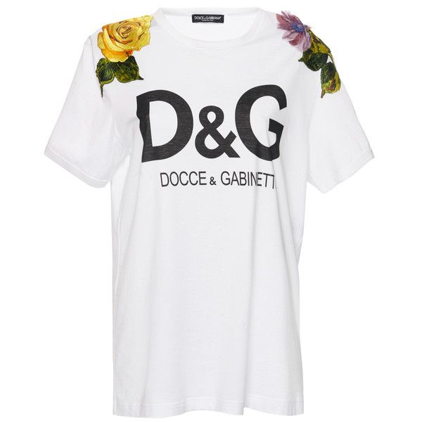 b907591b Dolce & Gabbana D&G Logo T-Shirt ($1,375) ❤ liked on Polyvore featuring  tops, t-shirts, white, white tee, white top, logo t shirts, logo tees and  dolce ...