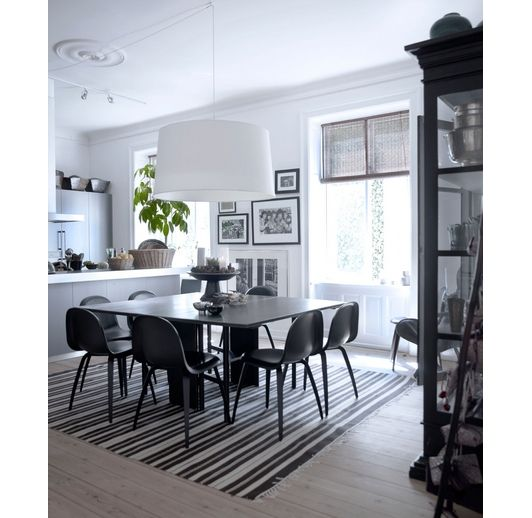 Striped area rug under dining room table home and garden - Dining room area rugs ideas ...