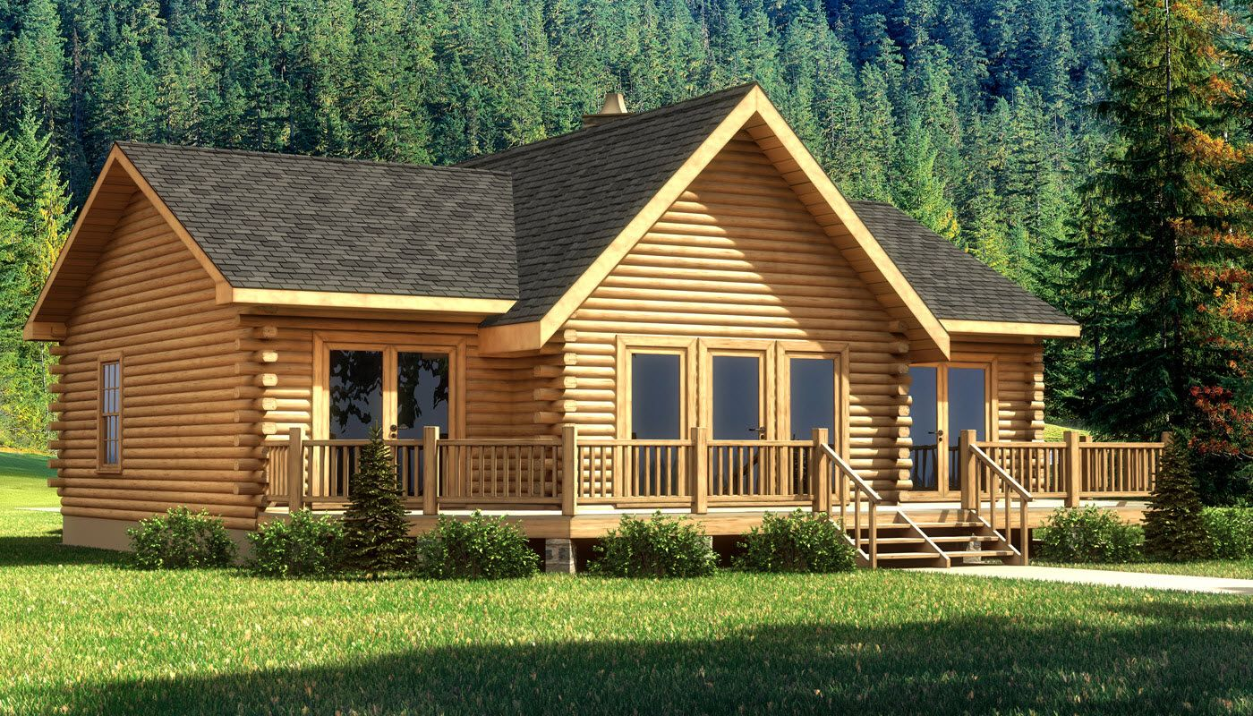 The wateree iii is one of the many log cabin home plans for Single floor log homes