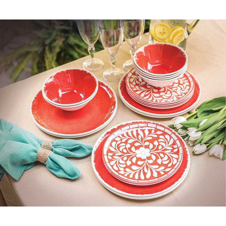 Amazon Com Melamine 18 Pc Dinnerware Set Coral Mother Of Pearl Design Dinnerware Sets Melamine Dinnerware Sets Dinnerware Set Dinnerware