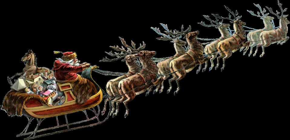 Santa Sleigh Reindeer Vintage Clipart Google Search Santa Sleigh Christmas Sleigh Sleigh