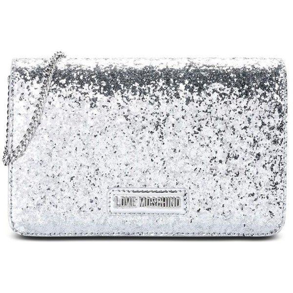 9c359c296f0 Love Moschino Clutch ($175) ❤ liked on Polyvore featuring bags, handbags,  clutches, silver, metallic handbags, strap purse, love moschino purse, ...