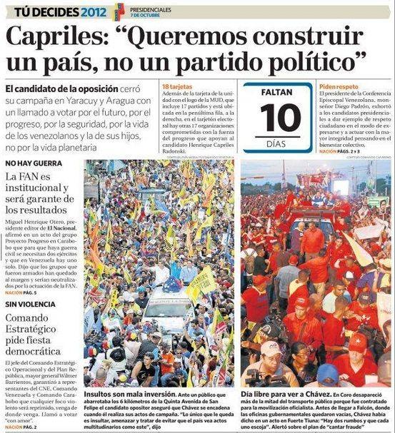 Primera Página El Nacional, 27 de septiembre de 2012