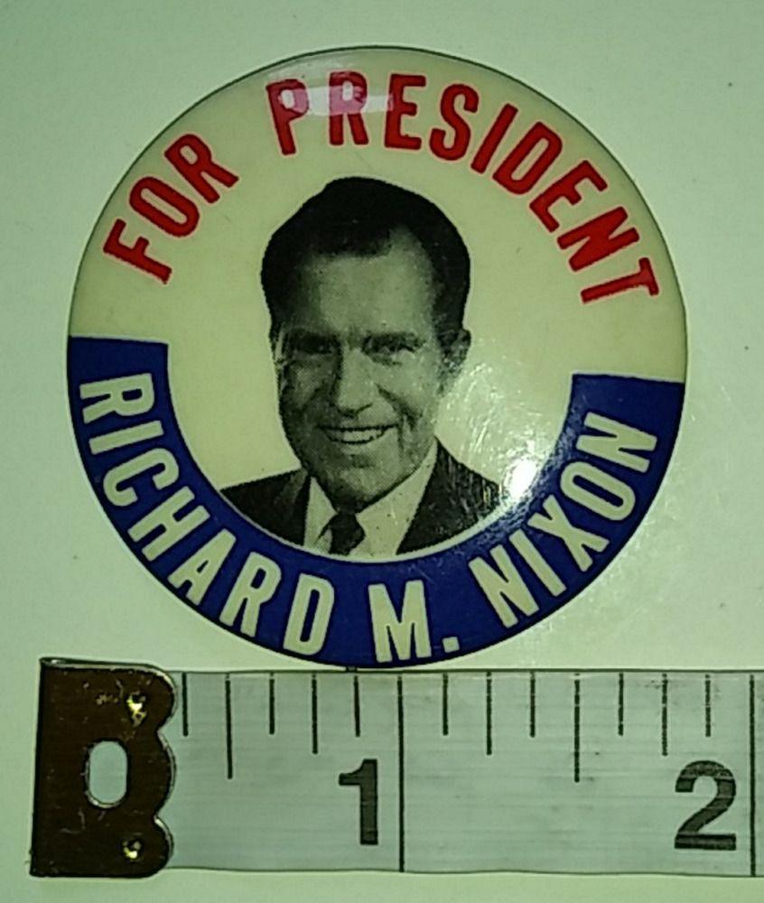"Rare Nixon Pins: For President Richard M. Nixon (1968) 1.75"" Vintage"