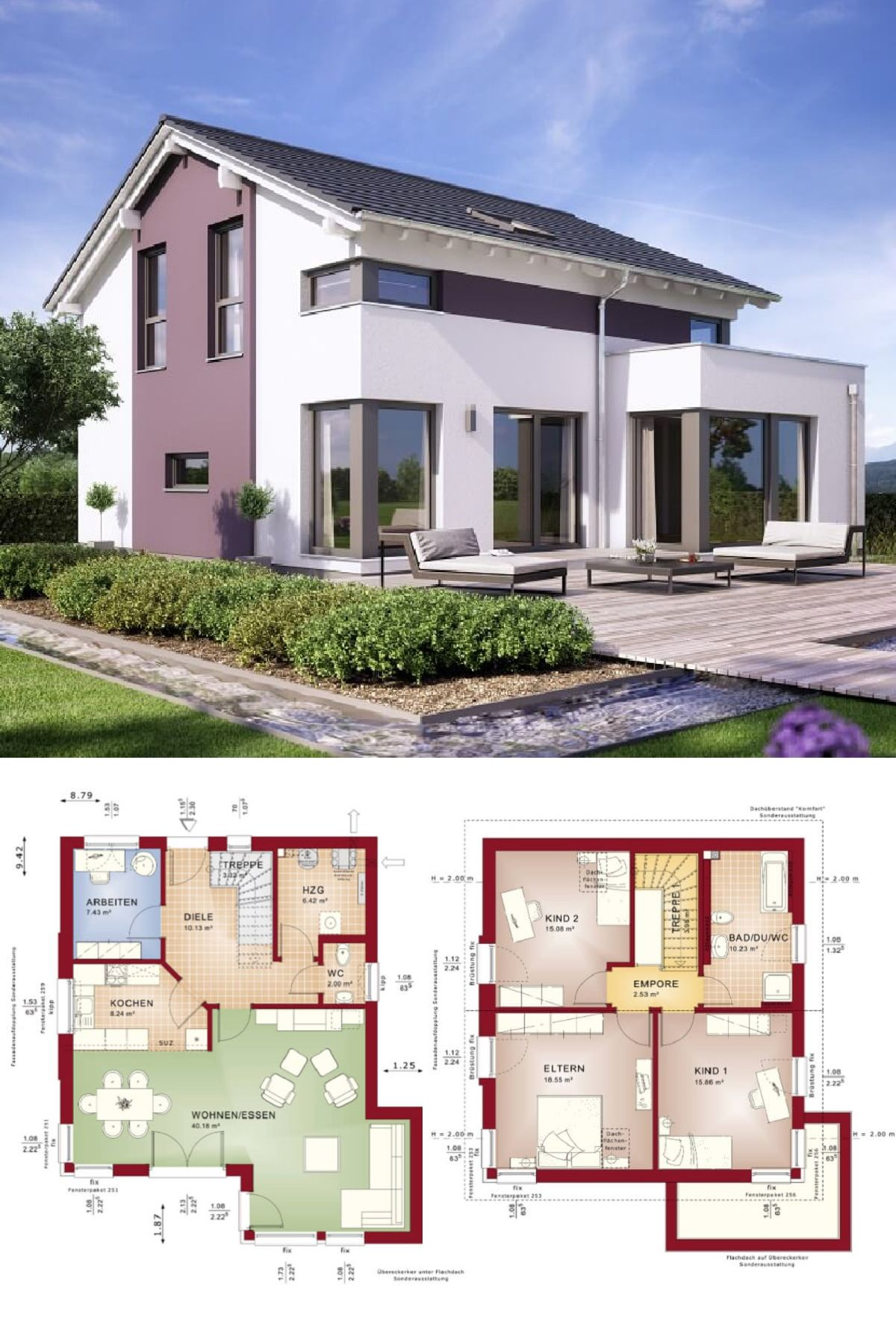 Modernes Satteldach-Haus mit Erker - Einfamilienhaus Celebration 134 ...