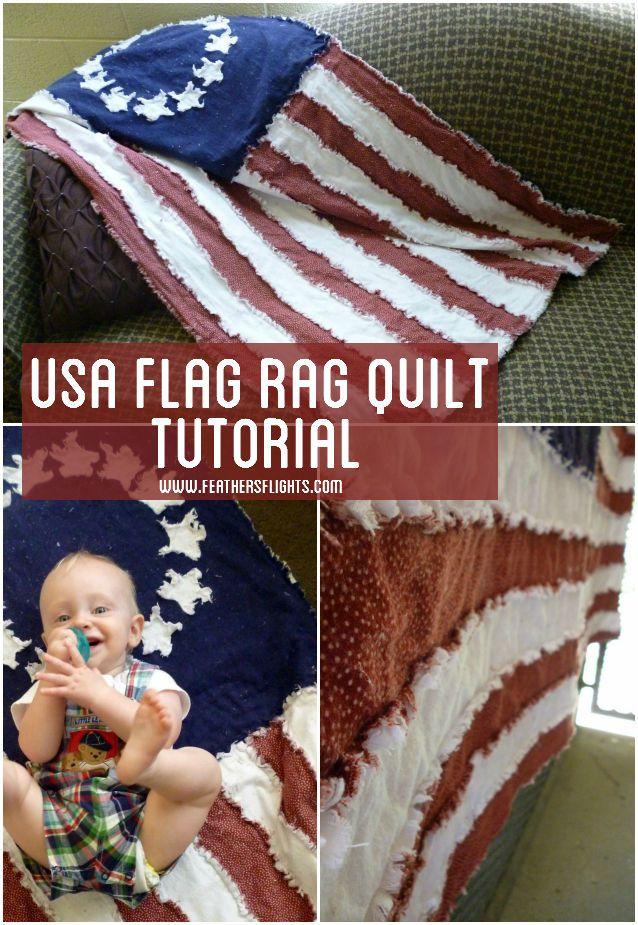 Pluma de Vuelos {un blog creativa, costura}: EE.UU. Bandera Rag Quilt Tutoriales