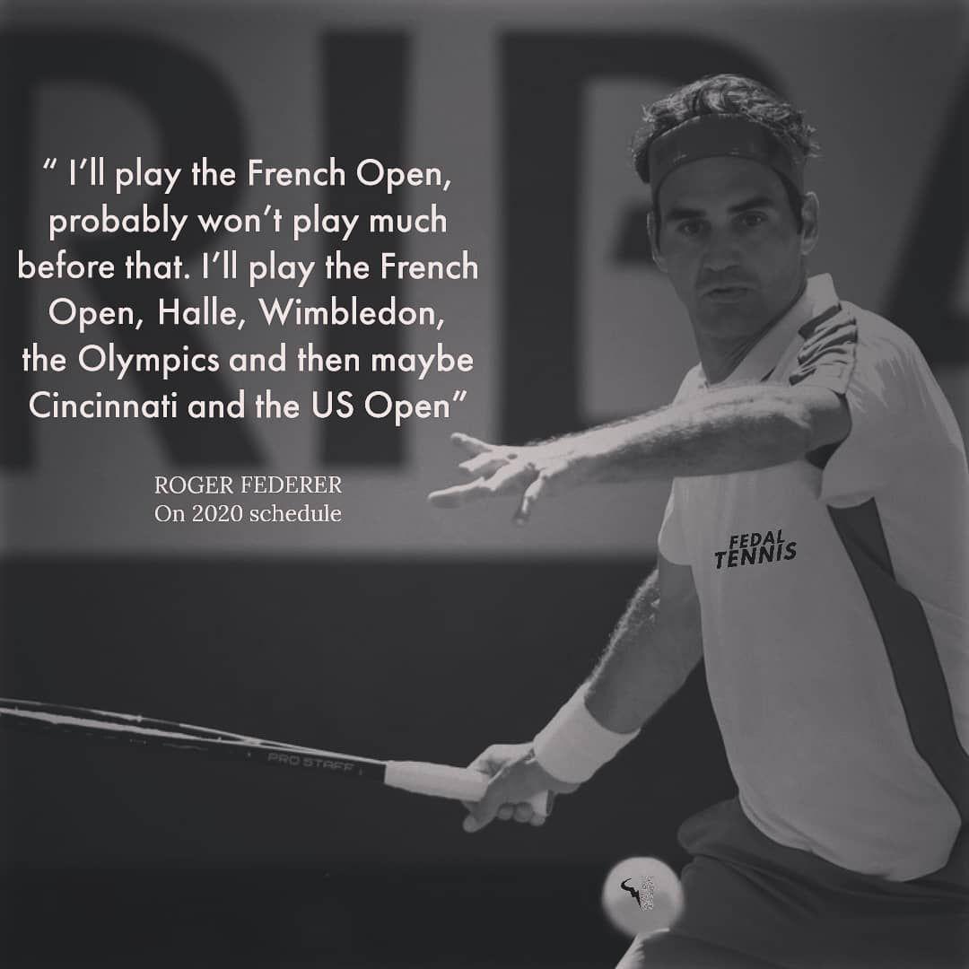 Roger Federer On His 2020 Schedule Rogerfederer Roger Federer Soccer Tennis Rogers