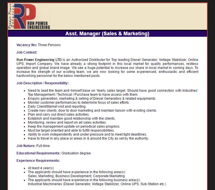 Run Power Engineering Ltd  Asst Manager Sales  Marketing