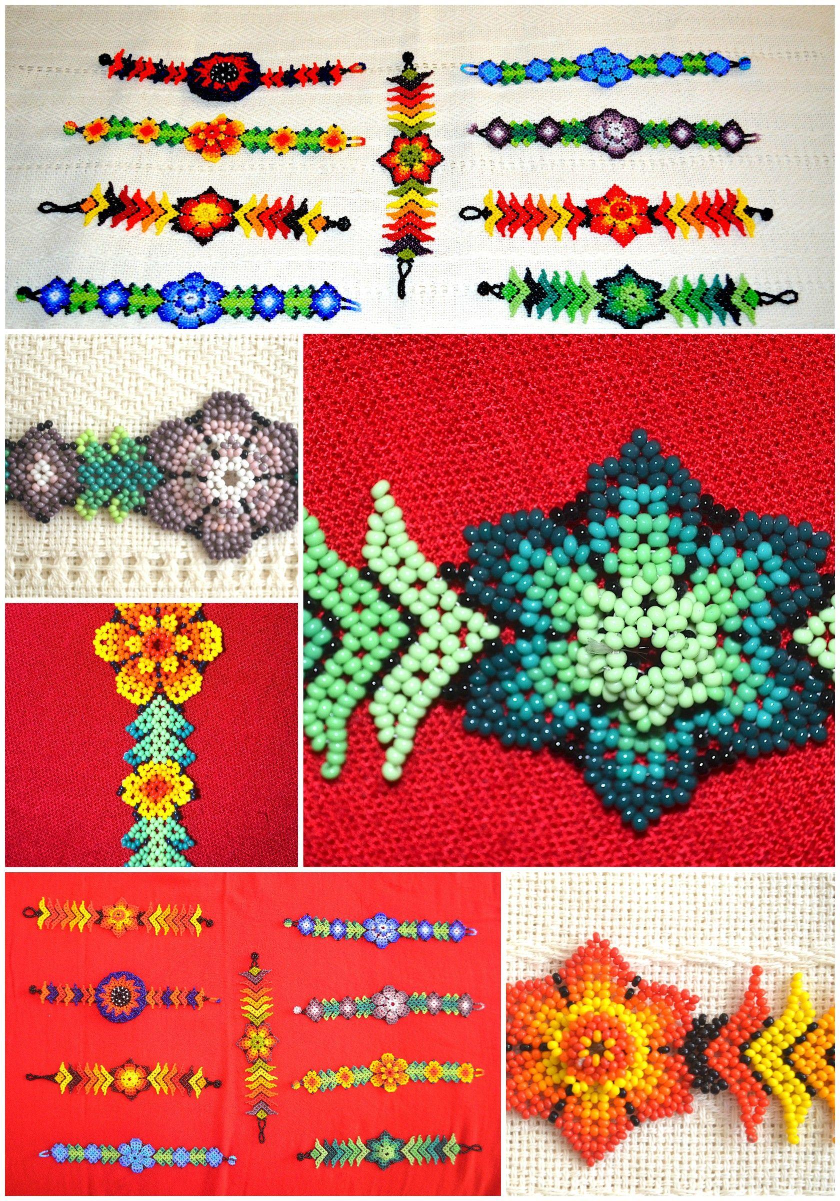 b42043c0f0d9 Pulsera artesanal Mexicana con material en Chaquira en diversas formas y  colores. Arte Huichol.