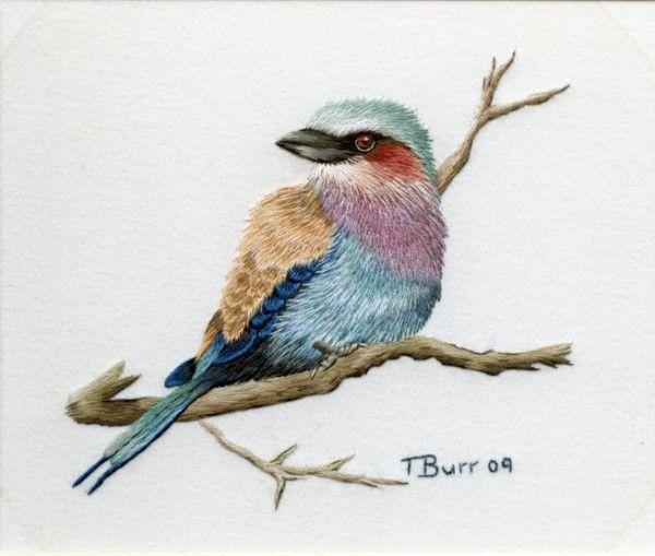 Схема вышивки птицы гладь 35