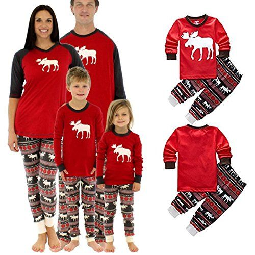 Family Matching Christmas Stripes Deer Pajamas for Kids M
