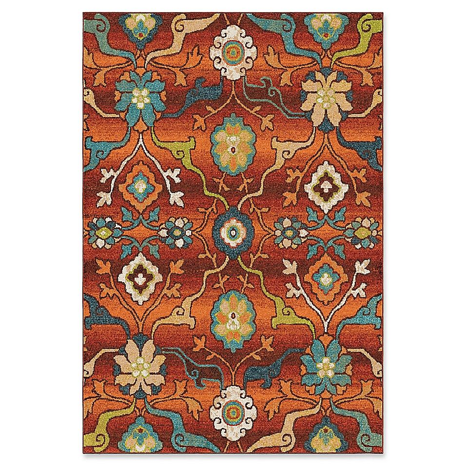 Orian Rugs Tibet Floral 7 10 X 10 10 Area Rug In Red Area Rugs