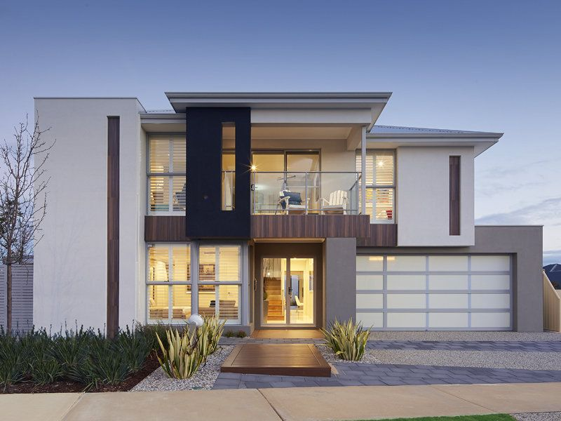 Exterior Design concrete modern house exterior with bay windows & decorative