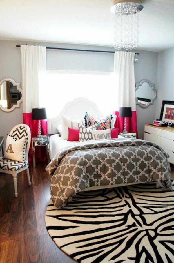 jugendzimmer einrichten teppich tiermuster bett rosa akzente - schlafzimmer einrichten rosa