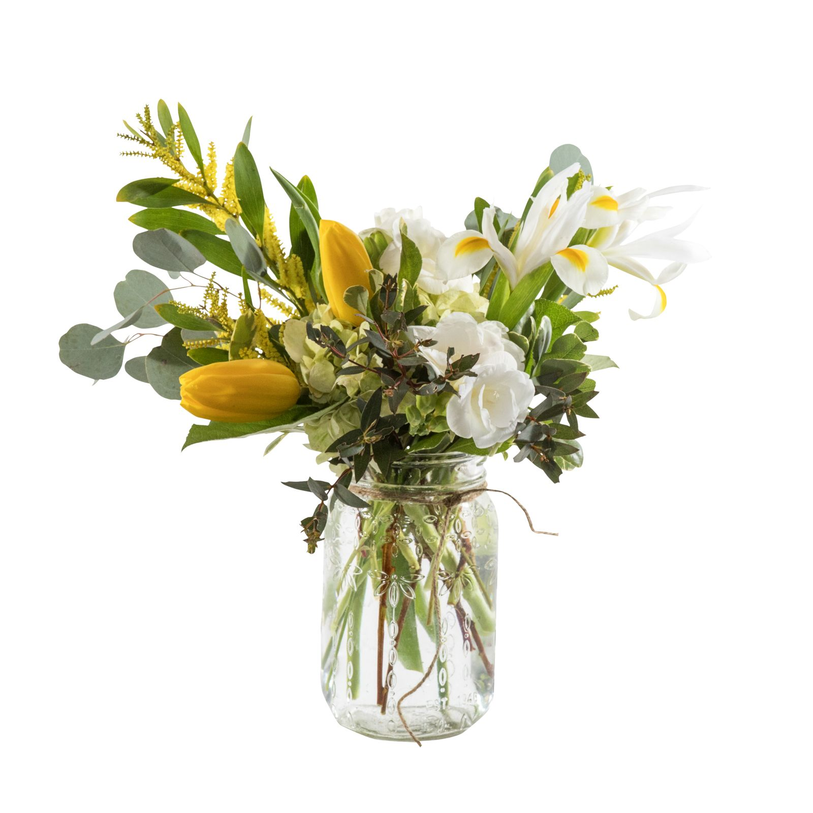 Mason jar florals featuring mustard yellows and white