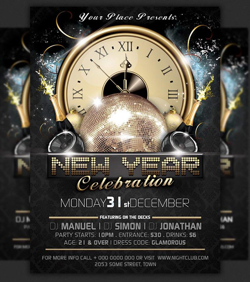 Clock New Years Party Flyer Template | Posters | Pinterest