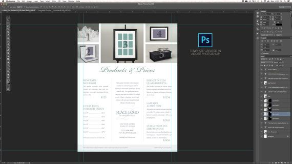 Product Price Sheet - Template for Adobe Photoshop CS6 and InDesign - Price Sheet Template